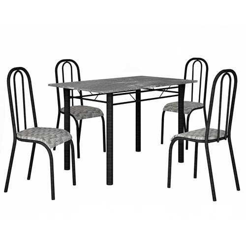 Mesa Teixeira Lisboa 1,20 com 4 Cadeiras Granito - Craquelado/Temperado Branco