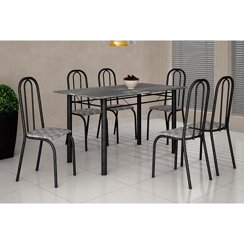 Mesa Teixeira Lisboa 1,40 com 6 Cadeiras Granito - Martelado