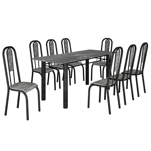 Mesa Teixeira Madri 1,80 com 8 Cadeiras Granito - Martelado / Riscado Branco