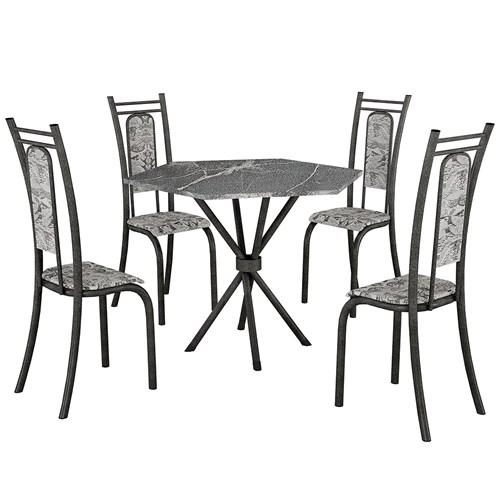 Mesa Teixeira Paris Sextavada com 4 Cadeiras - Ardosia Martelado / Renda Branco
