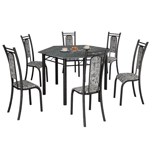 Mesa Teixeira Paris Sextavada com 6 Cadeiras Granito - Craquelado / Renda Branco
