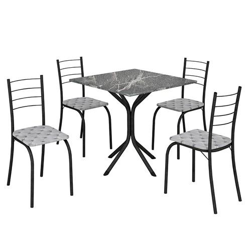 Mesa Teixeira Rio com 4 Cadeiras - Martelado