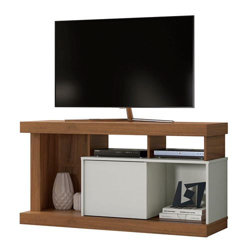 Rack para TV Linea Brasil Quartz - Off white / Nogueira