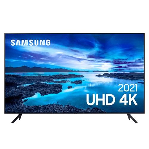 "Samsung Smart TV 4K UHD UN55AU7700 55"" LED - HDR10+ Controle Remoto e Bluetooth"