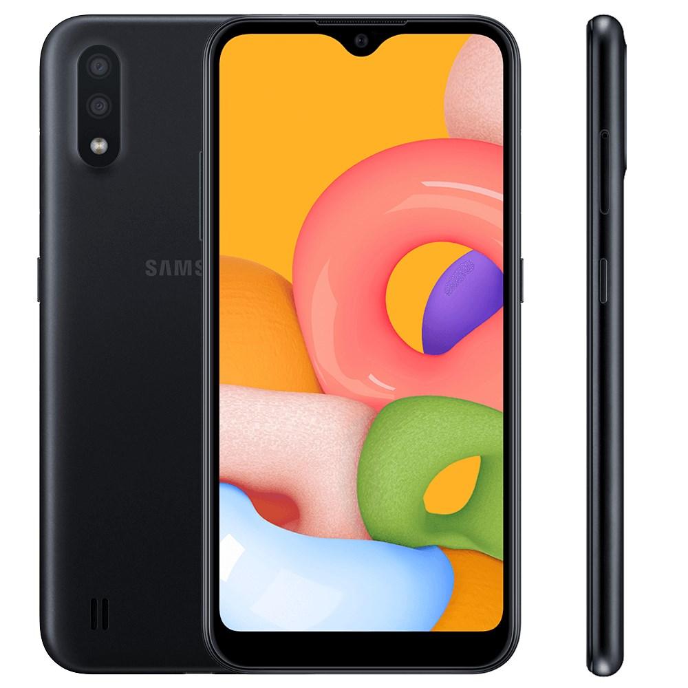 "Smartphone Samsung Galaxy A01 32GB Preto - 2GB RAM Tela 5,7"" Câm. Dupla + Câm. Selfie 5MP"