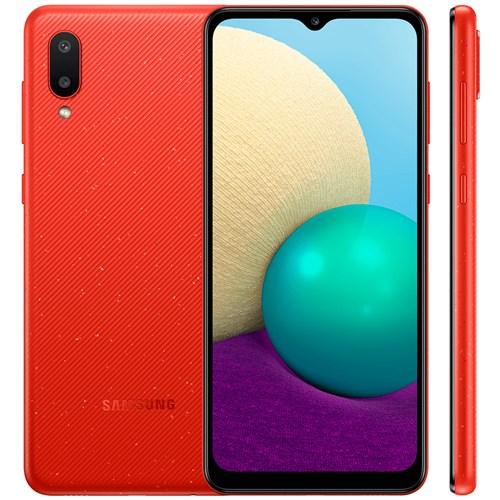 "Smartphone Samsung Galaxy A02 32GB Vermelho - 2GB RAM Tela 6.5"" Câm. 13MP + 2MP"