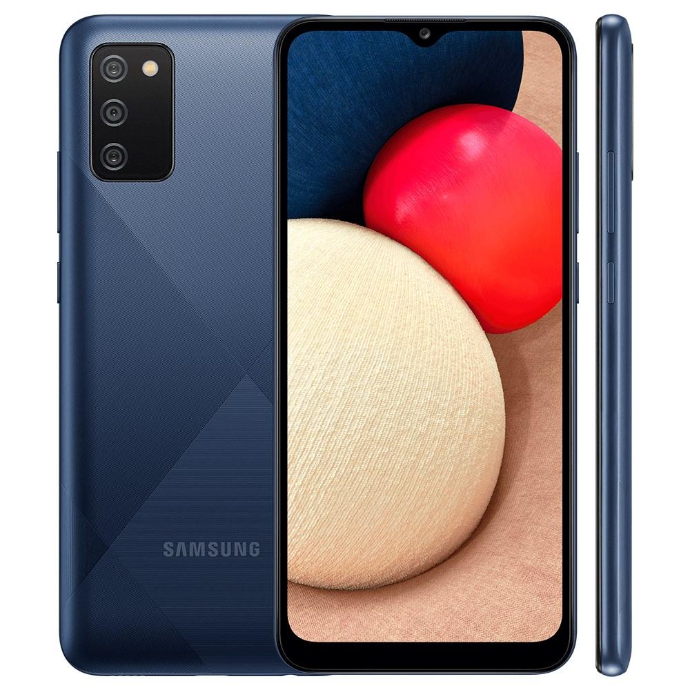 "Smartphone Samsung Galaxy A02S 32GB Azul - 3GB RAM Tela 6.5"" Câm. 13Mp + 2Mp + 2Mp"
