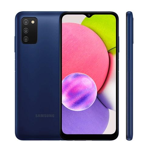 "Smartphone Samsung Galaxy A03S 64GB Azul 4G - 4GB RAM Tela 6,5"" Câm. Tripla + Selfie 5MP"
