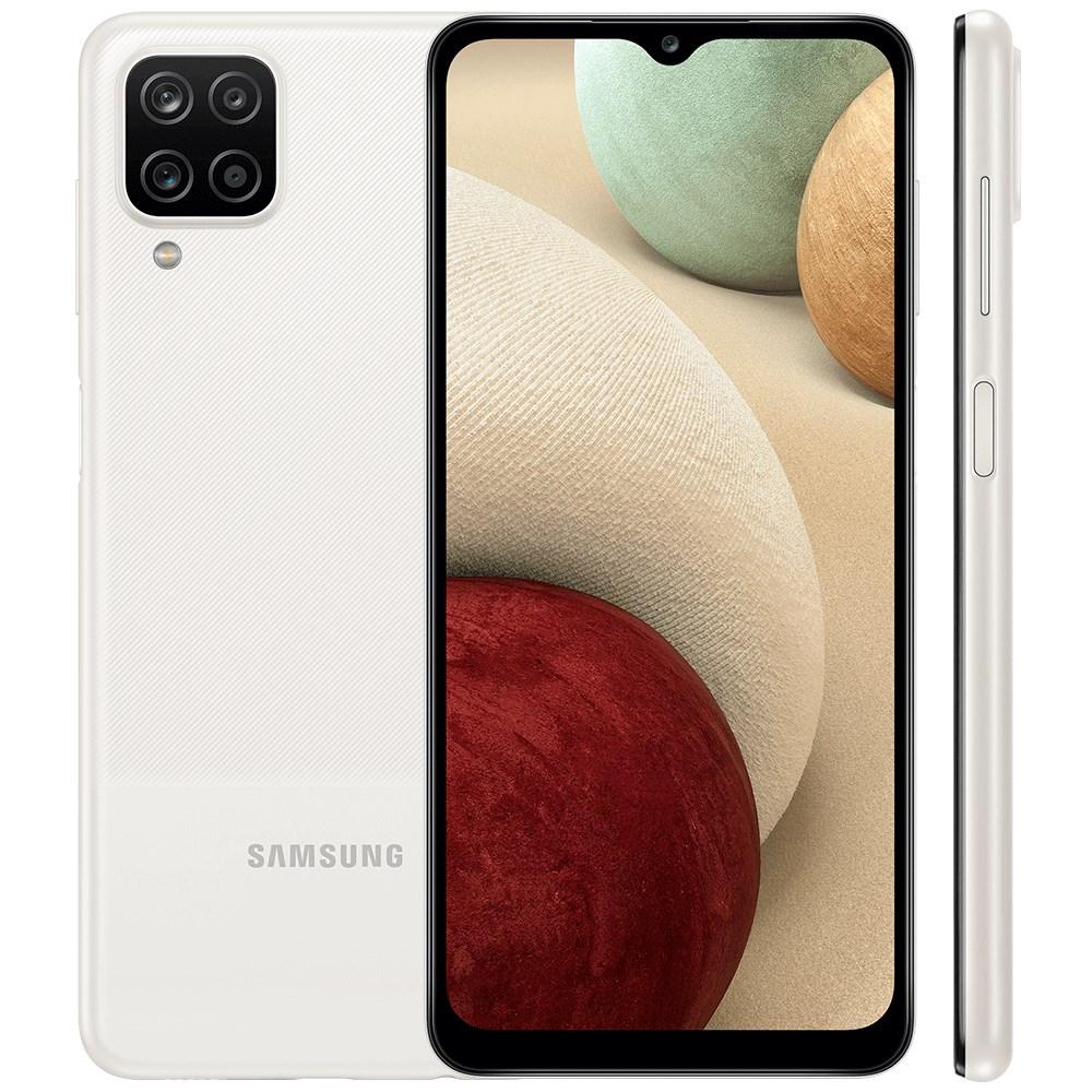 "Smartphone Samsung Galaxy A12 64GB Branco - 4GB RAM Tela 6.5"" Câm. 48Mp + 5Mp + 2Mp + 2Mp"