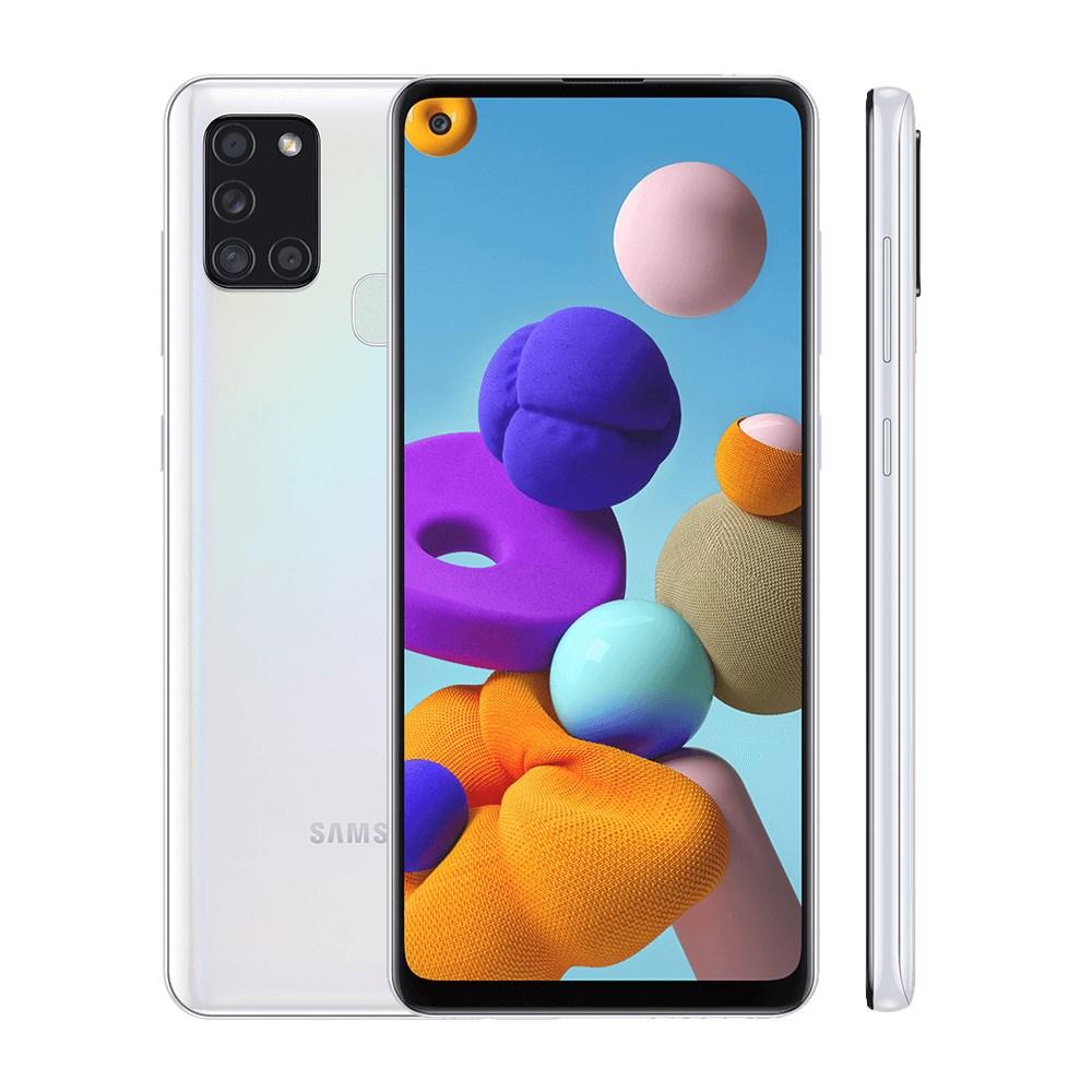 "Smartphone Samsung Galaxy A21S 64GB Branco 4G - 4GB RAM Tela 6,5"" Câm. Quadrupla + Câm. Selfie 13MP"