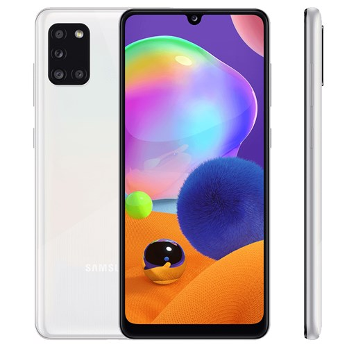 "Smartphone Samsung Galaxy A31 128GB Branco 4G - 4GB RAM Tela 6,4"" Câm. Quadrupla + Câm. Selfie 20Mp"