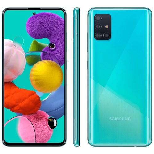 """Smartphone Samsung Galaxy A51 128GB Azul 4G - 4GB RAM Tela 6,5"""" Câm. Quadrupla + Câm. Selfie 32MP"""