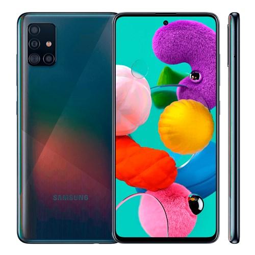 """Smartphone Samsung Galaxy A51 128GB Preto 4G - 4GB RAM Tela 6,5"""" Câm. Quadrupla + Câm. Selfie 32MP"""