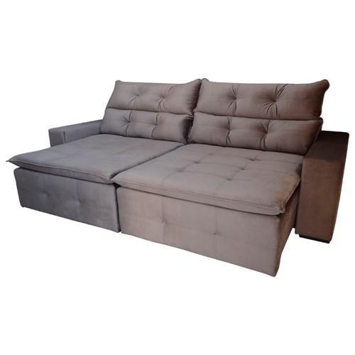 Sofá Retrátil Confort Palermo 2,5m - Reclinável Veludo Marrom