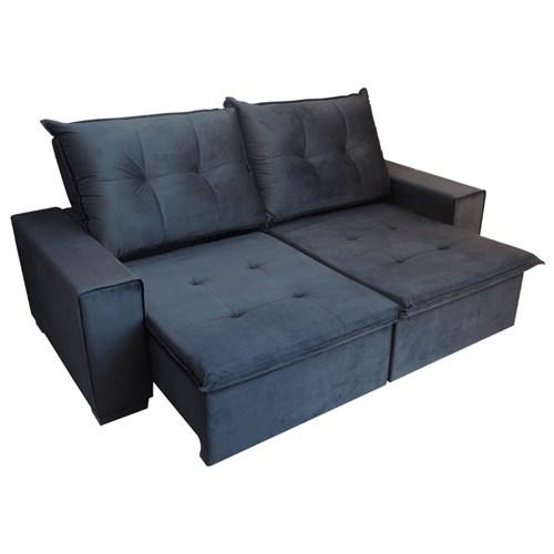 Sofá Retrátil Confort Palermo 2,5m - Reclinável Veludo Preto